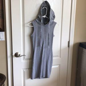 Sleeveless Hooded Ribbed Dress